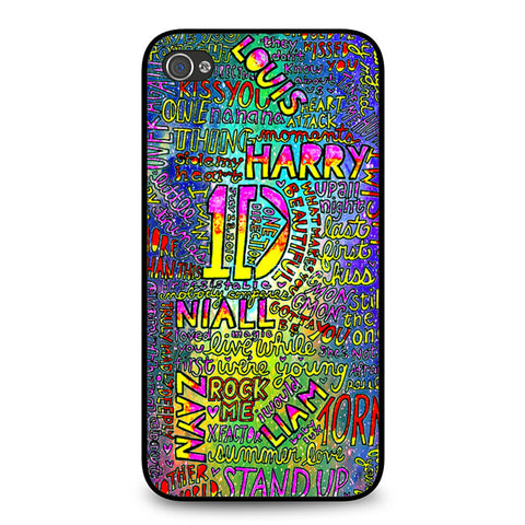 1D One Direction Lyrics iPhone 4 4S case