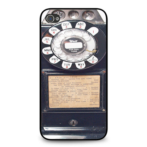 Black Retro Pay Phone iPhone 4 4S case