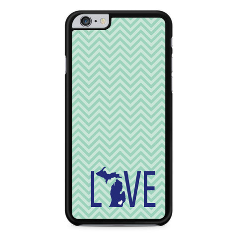 Teal and Mint Chevron State Love Michigan iPhone 6 Plus 6s Plus case