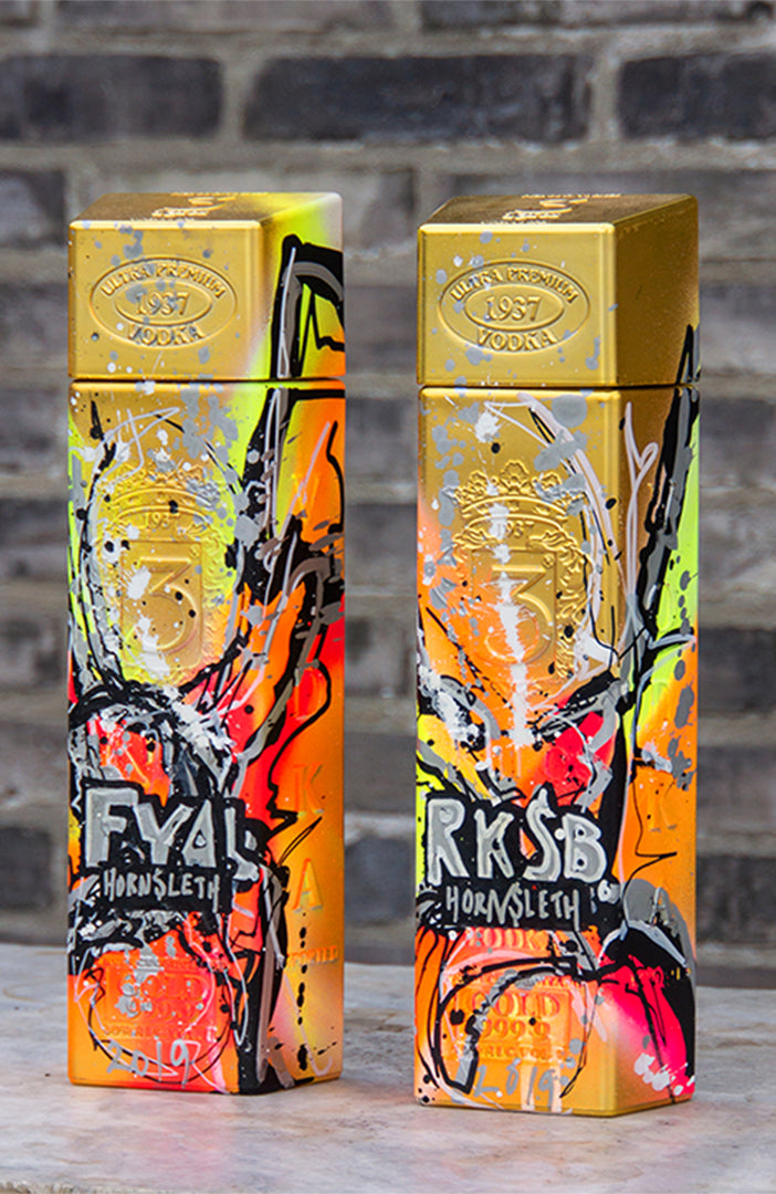 "VODKA - Exclusive VODKA, contains real 24 carat gold leafs ""F.Y.A.L edition"". Designed to provoke unnecessary luxury and a decadent lifestyle, in shape of a symbol of wealth."