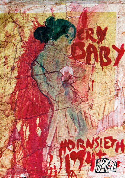 """CRY BABY"" Wall Art by Hornsleth. Affordable art poster, created from the original art piece. A very compassionate and abstract art piece by Danish artist Kristian von Hornsleth, with the words CRY BABY written in abstract red letters"