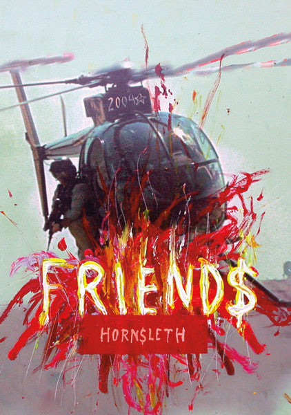 """FRIENDS"" Wall Art Poster by Hornsleth. Colourful strokes that which is resembling fire on a military helicopter, with a soldier pointing a gun. War is just big business with no real winners."