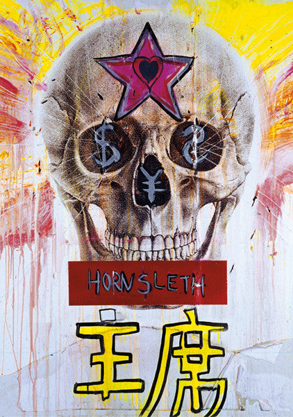 """HONG CHI"" Wall Art Poster by Hornsleth. A human skull with $ signs painted in the eyes, symbolizing that death and money goes hand in hand"