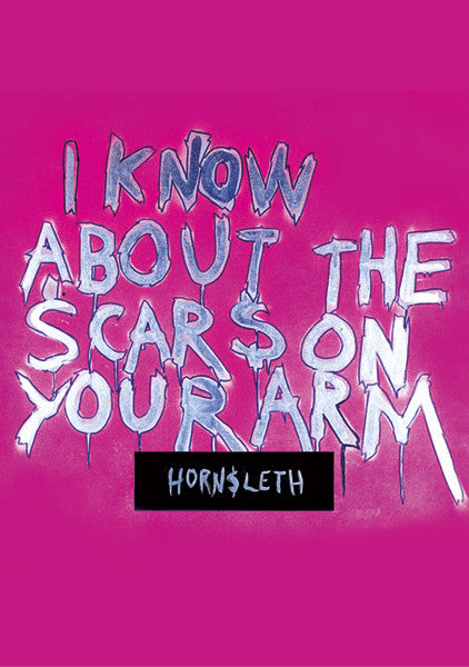 """I KNOW ABOUT THE SCARS ON YOUR ARM"" Wall Art by Hornsleth. Affordable art poster, created from the original art piece. Pink background with  the words ""I KNOW ABOUT THE SCARS ON YOUR ARM"" written over it in silver letters."