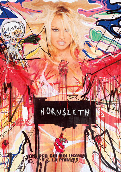 """PAM UN"" Wall Art by Hornsleth. An affordable art poster, created from the original art piece. Colorful paint strokes on an abstract background showing sexy Pamela Anderson."