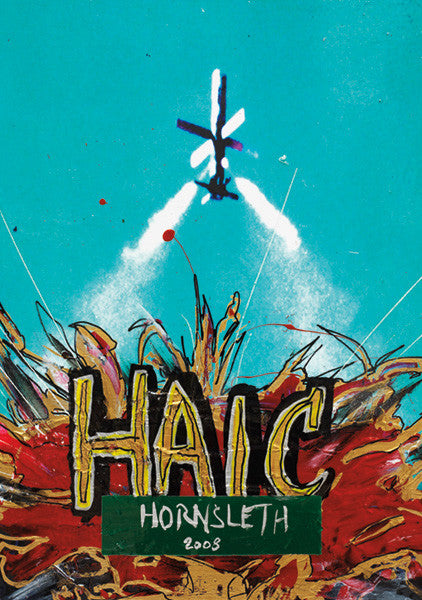 """HAIC MISSILE"" Wall Art by Hornsleth. Affordable art poster, created from the original art piece. A missile launching, with colorful abstract paint strokes and  the words ""HAIC"" written over it."