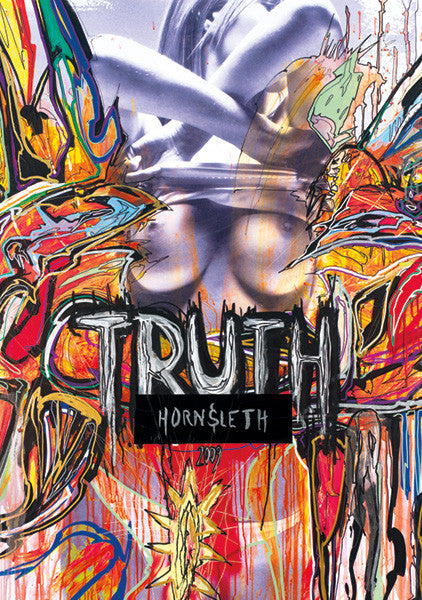 """TRUTH"" Art Poster. A sexy woman who reveals her breasts (""TRUTH"") , surrounded by colorful and abstract paint by Hornsleth."