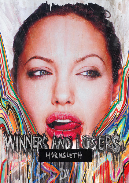 """WINNERS AND LOSERS"" Wall Art Poster by Hornsleth. Angelina Jolie licking her lip sensually, her face surrounded by colorful paint strokes."
