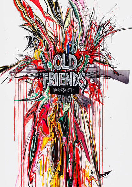 """OLD FRIENDS"" Art Poster. An AK 47 on white background with colorful paint strokes and a thought-provoking statement added by Hornsleth."