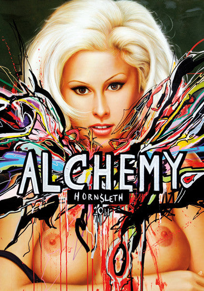 """ALCHEMY"" Wall Art by Hornsleth. Affordable art poster, created from the original art piece. A sexy art piece by Danish artist Kristian von Hornsleth, with the words ""ALCHEMY"" written over a beautiful and sexy naked woman."