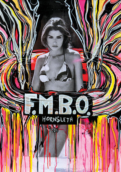 """F.M.B.O 2011"" Wall Art by Hornsleth. Affordable art poster, created from the original art piece. A sexy art piece by Danish artist Kristian von Hornsleth, with the words ""F.M.B.O"" written over a beautiful woman."
