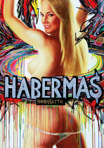 """HABERMAS"""" Wall Art by Hornsleth. Affordable art poster, created from the original art piece. A sexy art piece by Danish artist Kristian von Hornsleth, with the words ""HABERMAS"""" written over a beautiful naked woman."