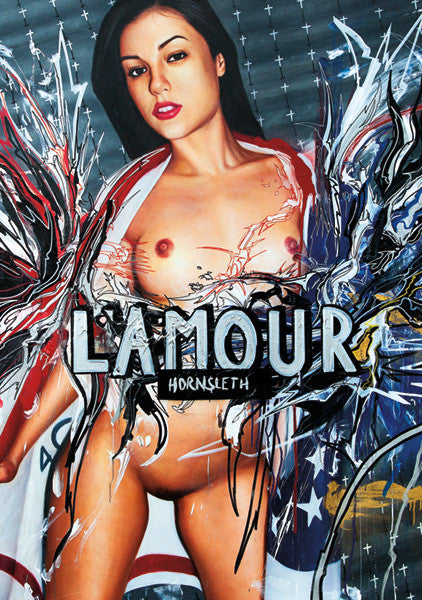 """LAMOUR"" Wall Art by Hornsleth. Affordable art poster, created from the original art piece. A sexy art piece by Danish artist Kristian von Hornsleth, with the words ""LAMOUR"" written over a naked and sexy woman, as a tribute to love."