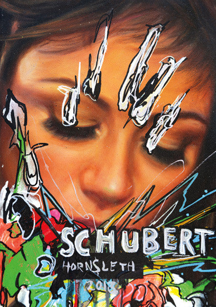 """SCHUBERT"" Wall Art by Hornsleth. Affordable art poster, created from the original art piece. A provocative art piece by Danish artist Kristian von Hornsleth, with the words ""SCHUBERT"" written in the middle of a sexy womans face."