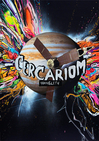 """CERCARION"" Wall Art by Hornsleth. Affordable art poster, created from the original art piece. Colorful abstract paint strokes beaming out from a planet in space."