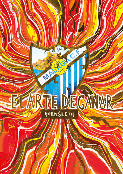 """EL ARTE DE GANAR"" Wall Art by Hornsleth. An affordable art poster, created from the original art piece. Colorful paint strokes on a red, yellow and orange background, with the text ""EL ARTE DE GANAR"" over the logo of Spanish football club Malaga C.F."