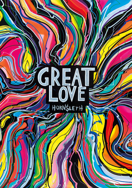 """GREAT LOVE"" Art Poster. Colorful 60'ies and hippie inspired art piece created by Hornsleth."