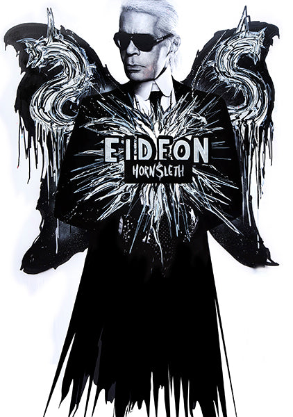 """EIDEON"" Art Poster by Hornsleth. Black and White paint strokes on canvas. showing Karl Lagerfeld as a $ angle, with $ wings."