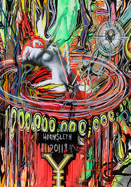 """1.000.000.000.000.000"" Wall Art by Hornsleth. An affordable art poster, created from the original art piece. Colorful paint strokes with the text ""1.000.000.000.000.000"" symbolizing human greed, and the hunt for more and more, while we are actually receiving less and less."