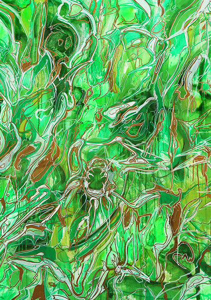 """ABSTRACT GREEN"" Wall Art by Hornsleth. Affordable art poster, created from the original art piece. A classical abstract art piece by Danish artist Kristian von Hornsleth."
