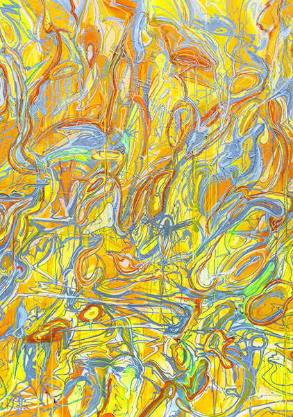 """ABSTRACT YELLOW"" Wall Art by Hornsleth. Affordable art poster, created from the original art piece. Yellow abstract paint strokes on a beige /yellow background, like a beautiful chaos."