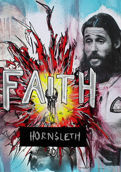 """FAITH"" Wall Art by Hornsleth. Affordable art poster, created from the original art piece. A colorful art piece by Danish artist Kristian von Hornsleth, with the words ""FAITH"" written in the middle."