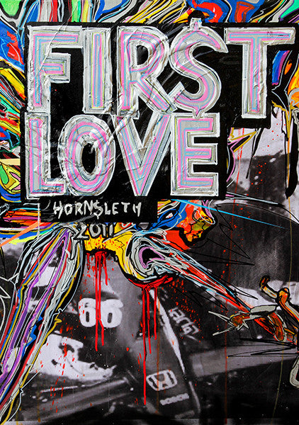 """FIRST LOVE"" Wall Art by Hornsleth. Affordable art poster, created from the original art piece. A colorful art piece by Danish artist Kristian von Hornsleth, with the words ""FIRST LOVE"" written over a formula I race car."