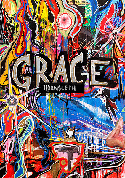 """GRACE"" Wall Art by Hornsleth. Affordable art poster, created from the original art piece. Colorful paint strokes on a blue background with ""GRACE"" written over it."