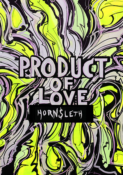 """PRODUCT OF LOVE YELLOW"" Wall Art by Hornsleth. Affordable art poster, created from the original art piece. An abstract and very colorful art piece by Danish artist Kristian von Hornsleth, with the words PRODUCT OF LOVE written in the middle."