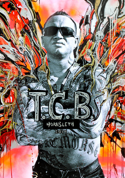 """T.C.B"" Wall Art by Hornsleth. Affordable art poster, created from the original art piece. A provocative and hard art piece by Danish artist Kristian von Hornsleth."