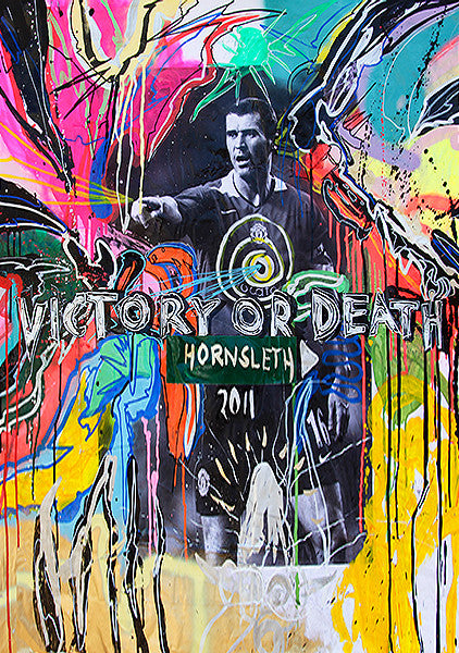 """VICTORY OR DEATH"" Wall Art by Hornsleth. Affordable art poster, created from the original art piece. A colorful art poster of a famous sucker player with ""VICTORY OR DEATH"" written over it."