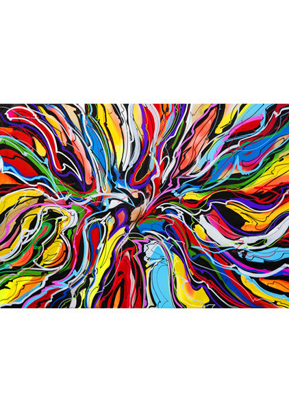 """ABSTRACT CX16T"" Art Poster. Hallucinogene hippie inspired silhouettes painted with colorful strokes by Hornsleth."