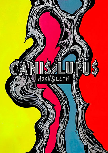 "Abstract and very colorful art poster, reproduced from the original art piece called  ""CANIS LUPUS"". Inspired by the  wolf or more specific the grey wolf, a well known predator in most of the Northern hemisphere."