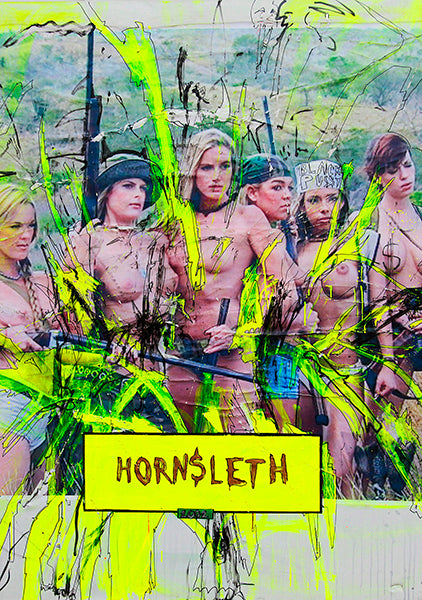 """HUNT FOR LOVE"" Art Poster by Hornsleth. Colorful yellow paint strokes on canvas. Naked girls with guns."