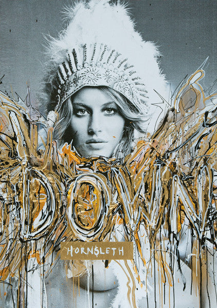 """DOWN"" Art Poster. Sexy woman in native American outfit, surrounded by golden and silver paint strokes by Hornsleth."