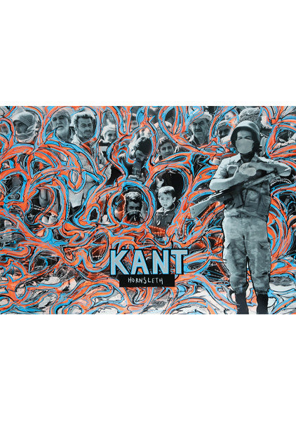 """KANT"" Wall Art by Hornsleth. Affordable art poster, created from the original art piece. Red /Orange paint strokes on a background with pictures of several heads, and a soldier, with ""KANT"" written in the lower middle."