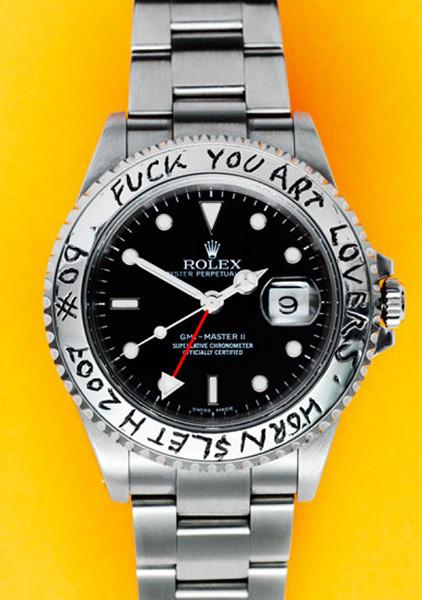"""ROLEX NO 9"" Art Poster. A silver Rolex watch on yellow background with the engraved words: F*ck You Art Lovers - Hornsleth 2007 - #9"