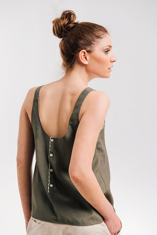 OLIVE GREEN SLEEVELESS TOP WITH BACK BUTTONS