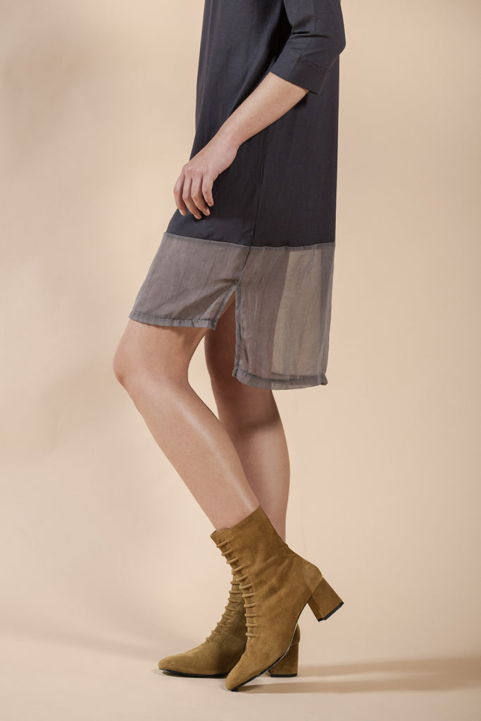 GRAY SHIRT DRESS WITH ASYMMETRIC HEM - WOOD