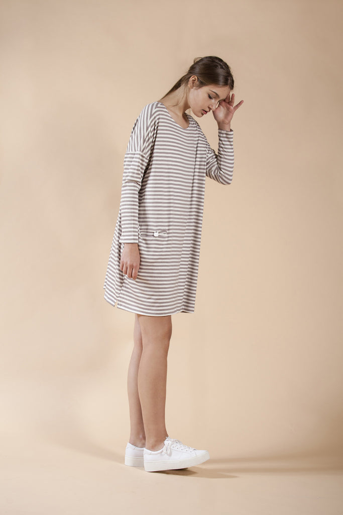 OVERSIZE SQUARE CUT STRIPED DRESS - MUD