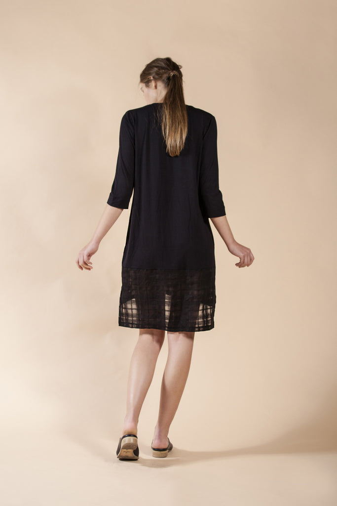 BLACK SHIRT DRESS WITH ASYMMETRIC HEM - WOOD
