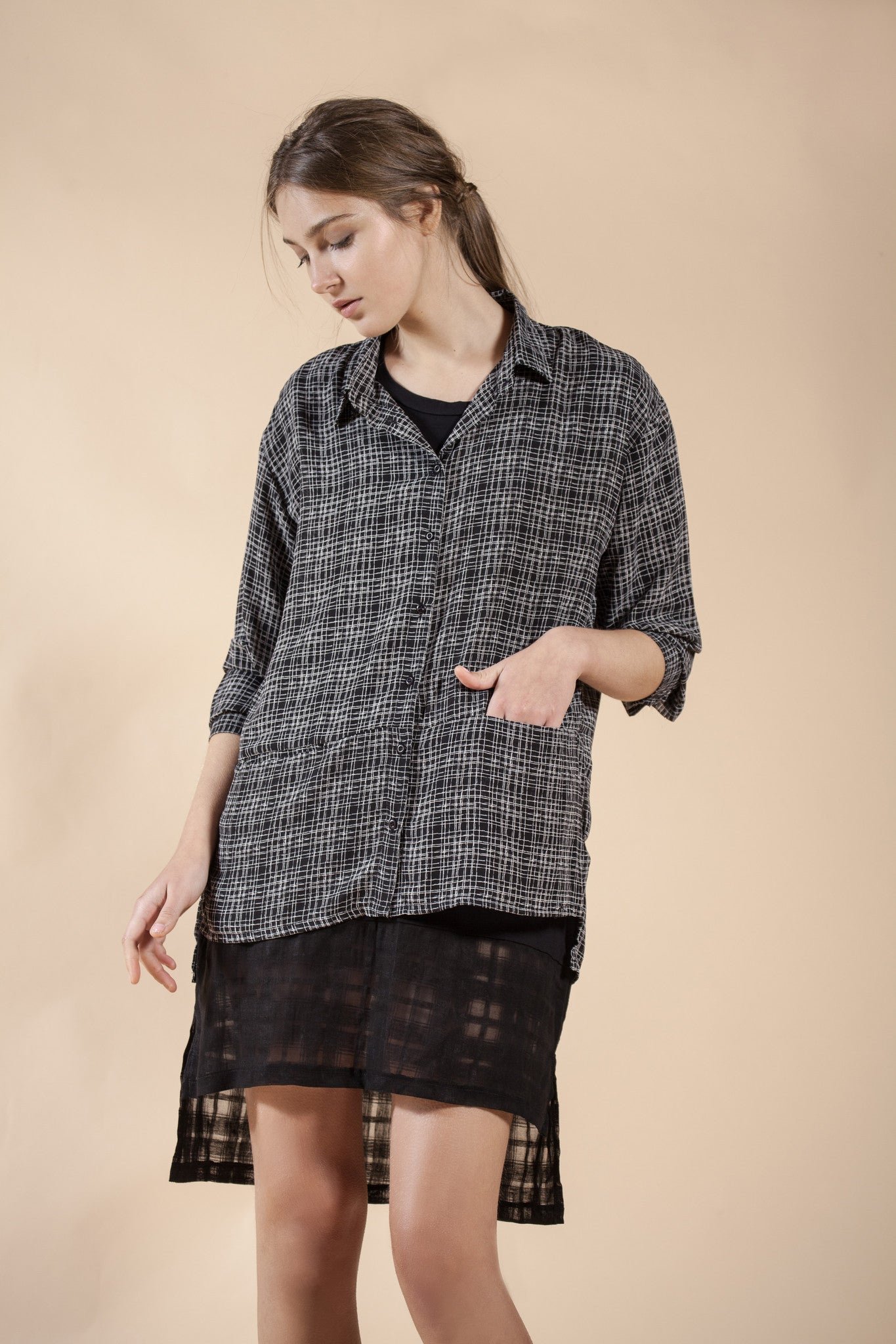 PLAID BUTTONED UP OVERSIZE TOP- LAYER