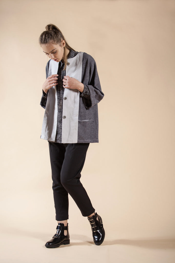 GRAY OVERSIZE SWEATSHIRT JACKET – ROCK