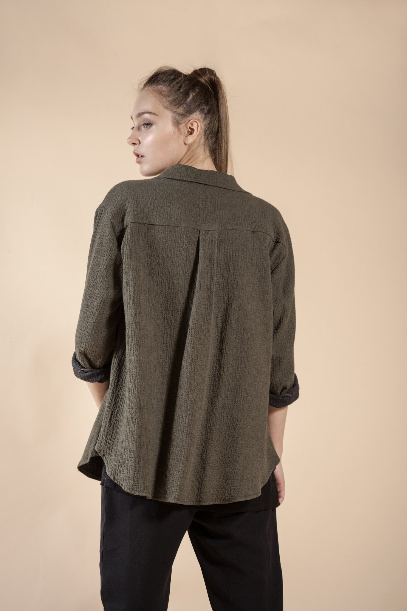 WOMEN'S GREEN OLIVE JACKET - STONE