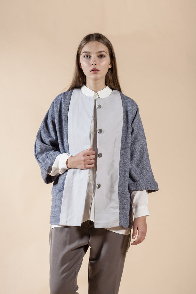 BUTTONED UP OVERSIZE TOP WITH HND MADE PRINT- LAYER