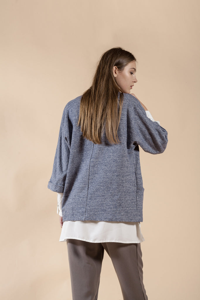 BLUE OVERSIZE SWEATSHIRT JACKET – ROCK