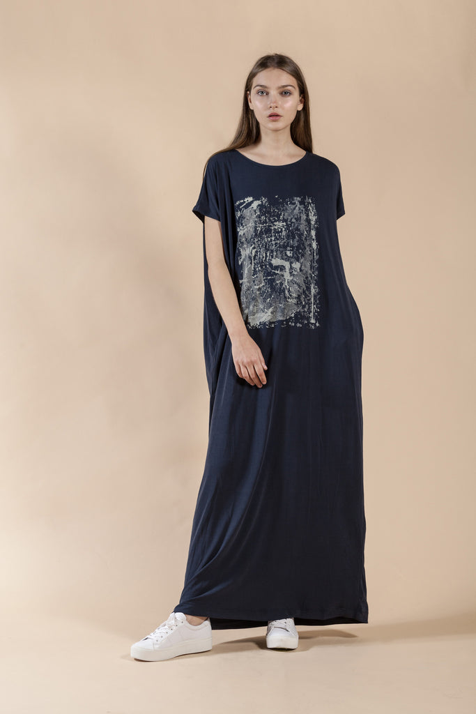 BLUE OVERSIZE MAXI DRESS WITH HAND MADE PRINT -BRICK
