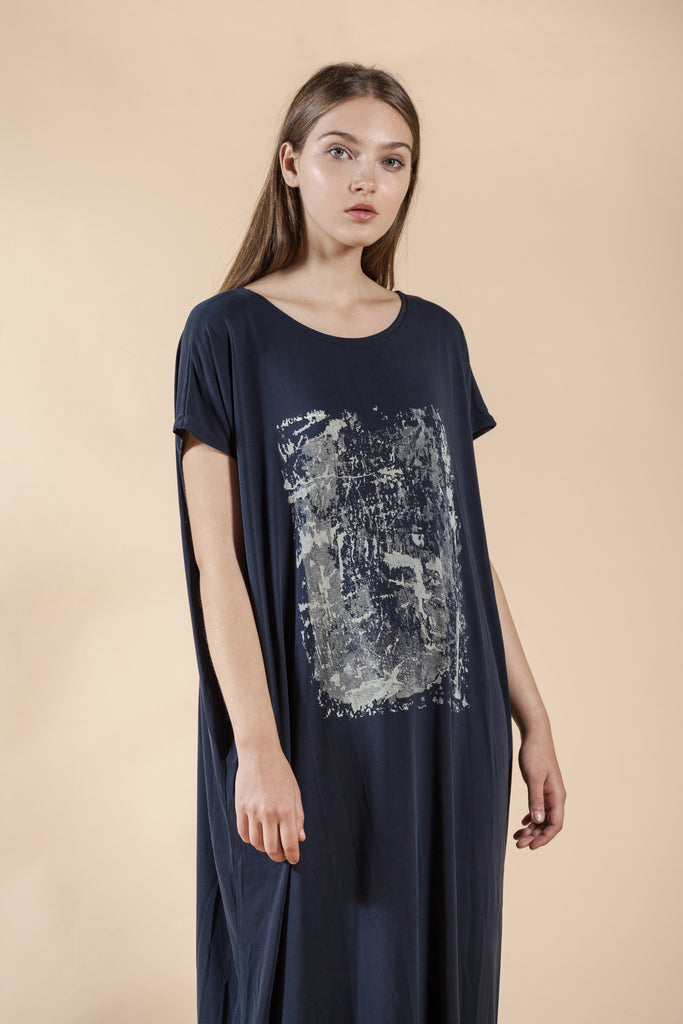 BLUE OVERSIZE DRESS WITH HAND MADE PRINT -BRICK