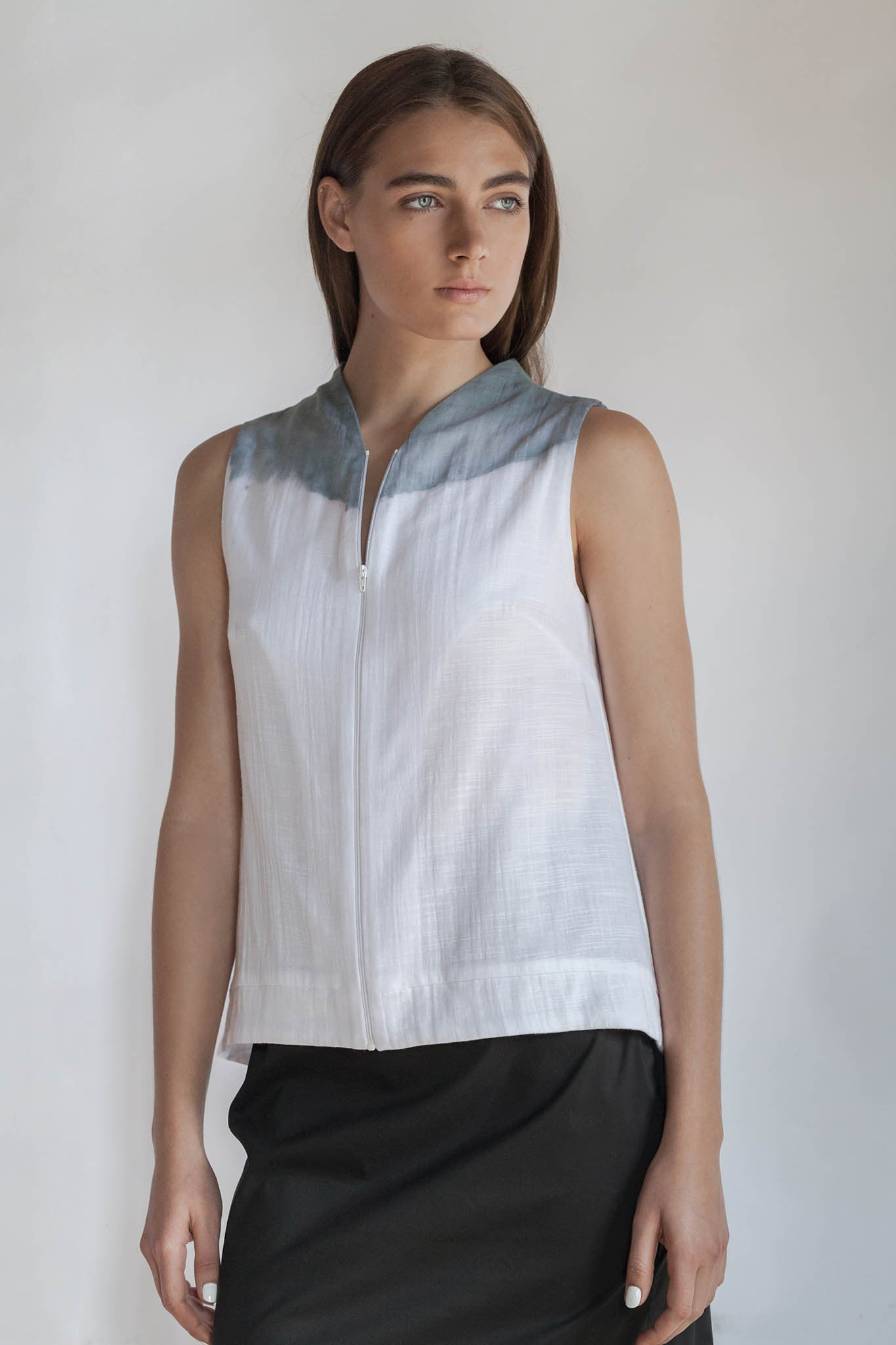 WHITE COTTON TOP WITH ZIPPER- CLYDE