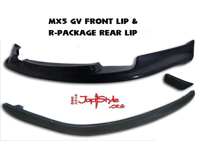 MX5 MK1 GV Style Front Lip and OEM / R-Package Style Rear Lip - JapStyle.org